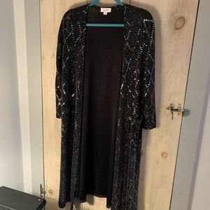 Lularoe black sequined duster - size Small